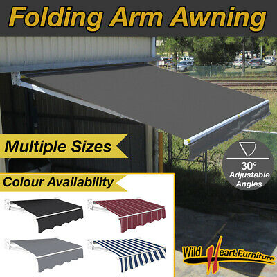 Folding Arm Awning Alluminum Sunshade Retractable Outdoor Sunshade Canopy Grey