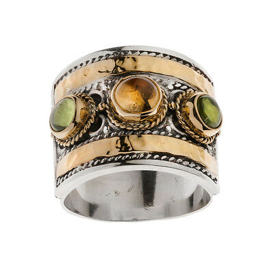 Savati ~ 22K Solid Gold & Sterling Silver Multi Stone Byzantine Large Band Ring