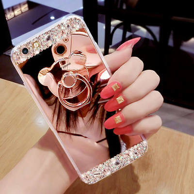 Luxury DIY Bling Diamond Crystal Ring Holder Stand Mirror Girls Phone Case Cover