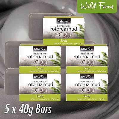 5 x NEW ZEALAND Wild Ferns Rotorua Thermal Mud Guest Soap 40g FREE SHIPPING