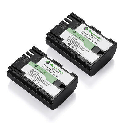 2 Pack LP-E6 LPE6 Li-ion Battery 7.4V 1600mAh for Canon EOS 5D 6D 60D 7D 70D Cam