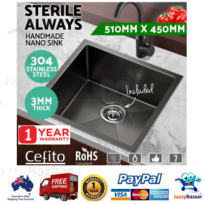 304 Stainless Steel Kitchen Sink Nano Handmade Laundry Black Single 510 x 450mm