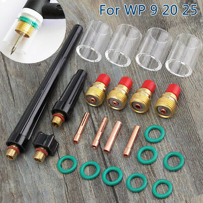 23Pcs TIG Welding Torch Gas Lens #10 Pyrex Glass Cup Kit for WP-9/20/25 Series
