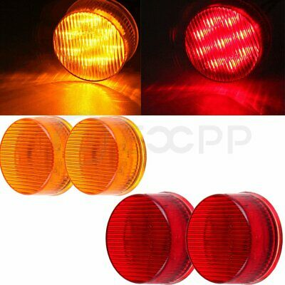 """2 Red + 2 Amber Round 2"""" Side Marker Lights Clearance 9 LED Truck Trailer Lamp"""
