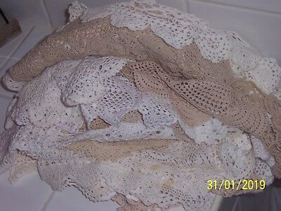 Bulk Lot Of 60 Vintage Crochet Doilies All Shapes & Sizes Great for Use or Craft