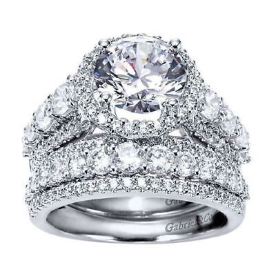 Certified 5.05 Ct Round Cut Diamond Engagement Wedding Ring Set 14K White Gold