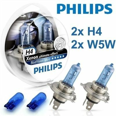 2 PCS H4 Original Philips Blue Vision Ultra XENON Ultimate EFFECT + 2 PCS W5W