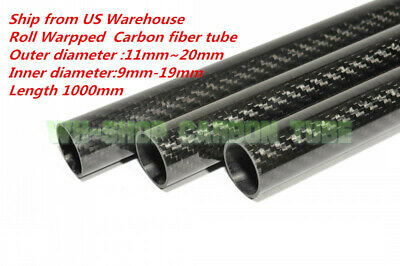 3K Carbon Fiber Tube OD11 12 13 14 15 16 17 18 19 20mm Roll Wrapped X 1000MM-H