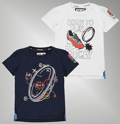 Boys RFU Crew Neck Short Sleeves Top Rugby Graphic T Shirt Sizes 7-13 Yrs