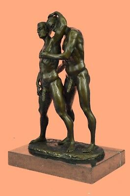 Handcrafted Two Male Gay Person Bronze Sculpture Marble Base Figurine Figure