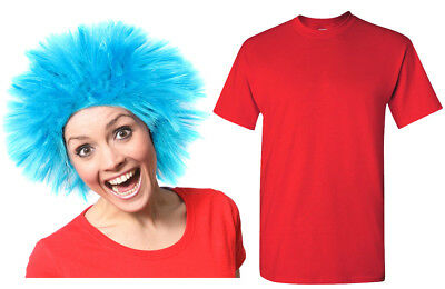 Blue Wig And Red T-Shirt Thing Fancy Dress Costume Adult World Book Day Outfit