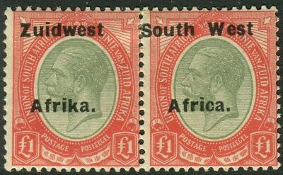 SOUTH WEST AFRICA-1926 £1 Pale Olive-Green & Red.  A lightly mounted mint Sg
