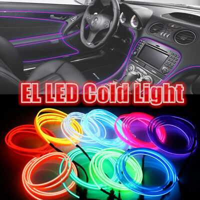 1-5M Car Interior Decor Flexible LED Neon Light Glow EL Strip Tube Wire Rope