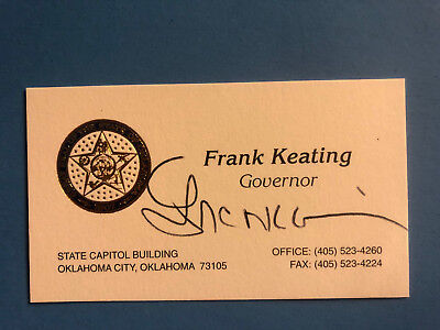 """Francis Anthony """"Frank"""" Keating II (Signed Oklahoma Governors Business Card)"""