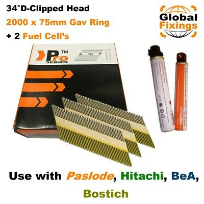 2000 x 75mm Galv Ring Framing Nails + 2 Fuel Cell for Paslode IM350/350+