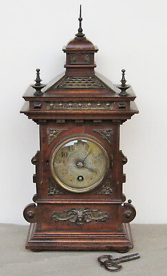 Lenzkirch Walnut Mantel Clock German Black Forest - Circa 1890