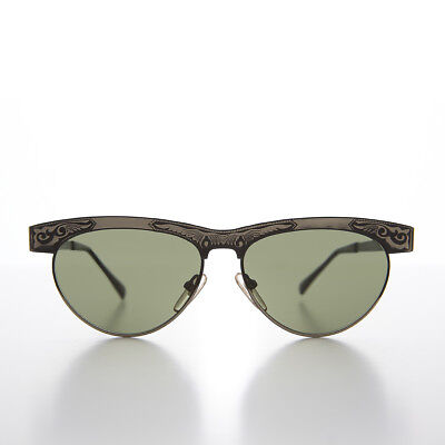 Gunmetal Classic Vintage All Metal Sunglass with Etched Ornaments - Jo