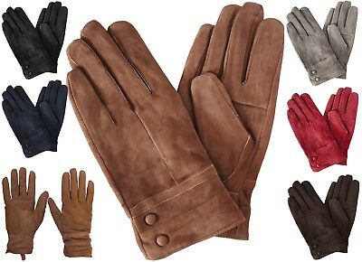 Womens Classic Suede Leather Winter Gloves