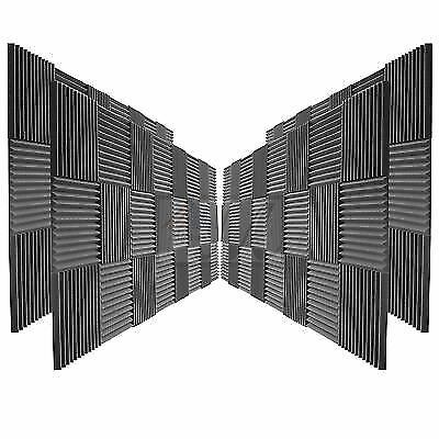 """24 Pack Acoustic Foam Panel Wedge Studio Soundproofing Wall 12""""x12x2"""""""