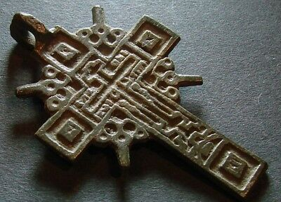ANCIENT BRONZE CROSS RARE. RELIGIOUS ARTIFACT IN GREAT CONDITION. 44 mm. (F.107)