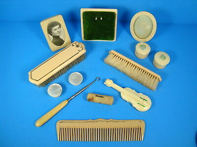 Vintage Celluloid Vanity Accessory Set Powder Box Two Hair Receivers