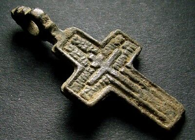 ANCIENT BRONZE CROSS RARE. RELIGIOUS ARTIFACT IN GREAT CONDITION. 39 mm. (F.123)