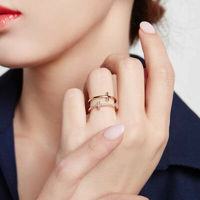 2018 Cubic Zirconia Crystal Double Cross Midi Finger Rings Women Adjustable Size