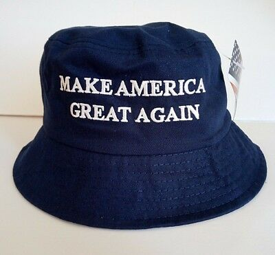 MAGA President Donald Trump Make America Great Again Hat Navy Blue Bucket Hat