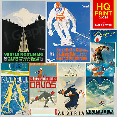 Vintage Popular Retro Ski & Travel Posters Wall Art Posters | A4 A3 A2 A1 |