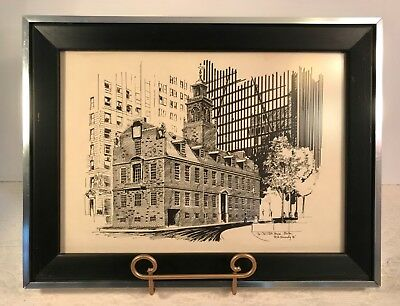 R.E. Kennedy OLD STATE HOUSE BOSTON 1972 Pen & Ink Print Framed