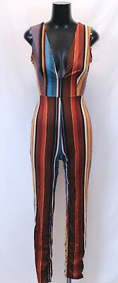 71d499f45076 Fashion Nova Women s Greatest Show Stripe Jumpsuit SD8 Rust Teal Small NWT