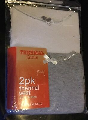 Baby Girls 2 pack Thermal Long Sleeveles Vests. 1 White & 1 Grey