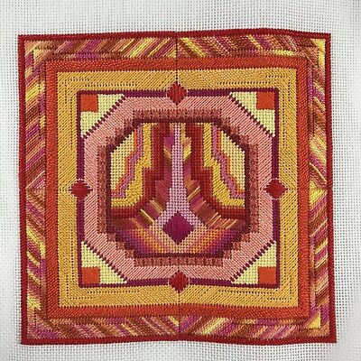 "Completed Needlepoint Piece, Square Abstract in Red Yellow Orange & Pink 6""x6"""
