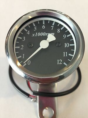 Custom LED Micro Tachometer 4:1 Ratio Mechanical Drive Chrome Body Black Face