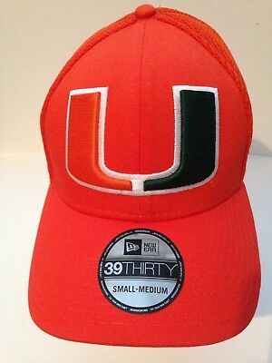 new concept 66ed6 aa7f9 Miami Hurricanes New Era 39Thirty Mega Team Stretch fit hat S M