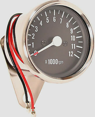 Custom LED Mini Tachometer 4:1 Ratio Mechanical Drive Chrome Body Black Face