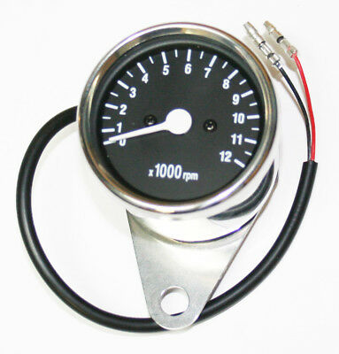 Custom LED Mini Tachometer 7:1 Ratio Mechanical Drive Chrome Body Black Face