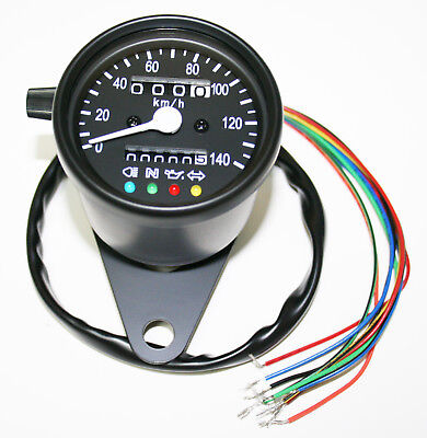 "Custom Mini 2.25"" Speedometer (KPH) 100KPH=2330RPM LED Black Body Black Face"