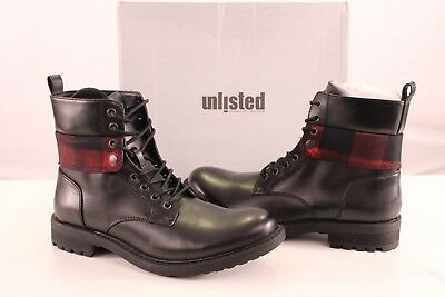 e0c3664720fc Kenneth Cole Unlisted Design 301955 Mens Black Leather Lace Up Boots Shoes  11.5M