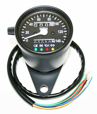 "Custom Mini 2.25"" Speedometer (MPH) 60MPH=2240RPM LED Black Body Black Face"