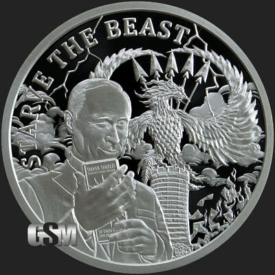 "2019 Silver Shield STARVE THE BEAST Proof - #20 in ""Death of the Dollar"" Series"