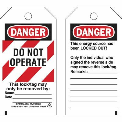 Brady Danger Tag 5-3/4 x 3 In Polyester Laminated Pack of 25 65525
