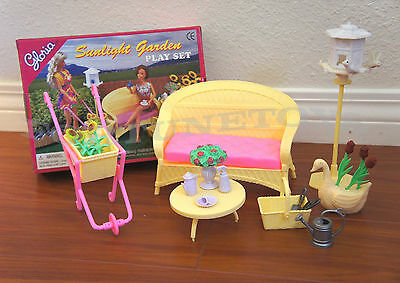 GLORIA DOLLHOUSE FURNITURE Sunlight Garden w/Wheelbarrow PLAY SET FOR BARBIE
