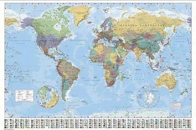 WORLD MAP (WITH FLAGS) POSTER 91,5 x 61 cm