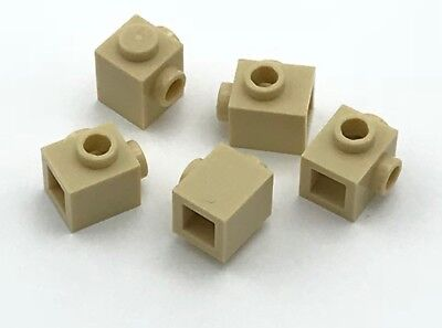 Lego 5 New Tan Bricks Modified 1 x 1 with Studs on 2 Sides