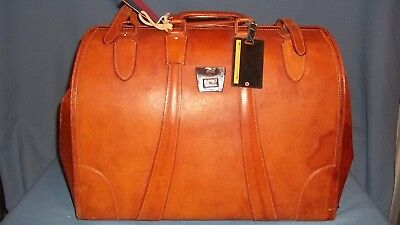 Vintage Large Tan / Brown Leather Doctor's Bag  Carry-on,Luggage Suit Case