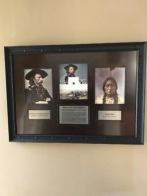 GEORGE ARMSTRONG CUSTER-Artifact+Battle of Little Bighorn Museum Framed Display