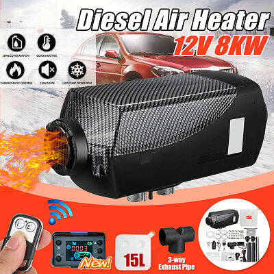 8KW 12V Diesel Air Heater LCD Thermostat+15L Tank+T Pipe For Truck Motorhome Car