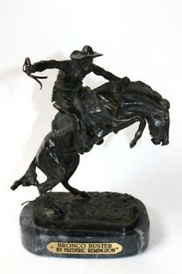 "9"" Frederic Remington BRONCO BUSTER Bronze Horse & Rider signed sculpture statue"