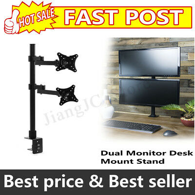 Vertical Dual Monitor Stand 2 Arm LED Screen Double Bracket Holder Desk Mount